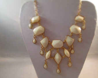 Bib Necklace with Ecru and Gold Tone Beads on Gold Tone Chain
