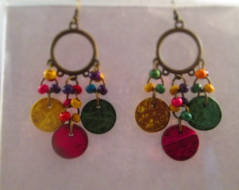 SALE Chandelier Earrings in Bronze Tone and Mukti Color Wood Beads