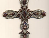Large Metal Cross With Clear Crystals and Dark Mauve Cloissonne Style Glass Inlays