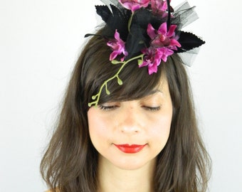 Fascinator Headpiece Cocktail Hat Silk Pink Orchid Flowers Cascading in Black Feathers and Tulle Veil - Statement Headwear Hair Accessory