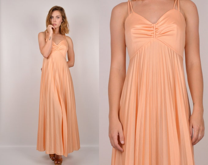 70's Peach Goddess Maxi Dress