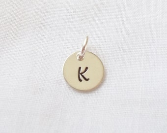 Sterling Silver Initial Charm ~ Hand Stamped, Add On, Personalized Charm