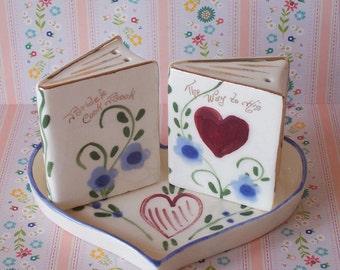 "Vintage ""The Way to His Heart"" Brides Cookbook Salt & Pepper"