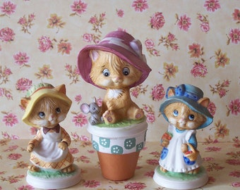 Darling Vintage Lefton China Hand Painted Kittens Set of Three