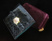 Leather Watch Wallet Vintage Black Crocodile Pattern Patent Shiny Small Made in Italy Accessory Designer Clock