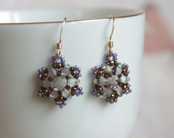 Snowflake Earrings - Beaded Christmas Holiday Earrings - Winter Nature Jewelry - Small Dangles