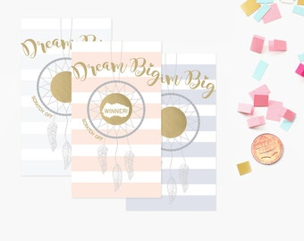 10 Dream Big Dream Catcher Baby Shower Scratch Off Game Cards - Baby Shower Game