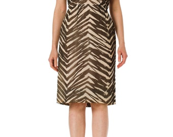 1950's Zebra Print Silk Chiffon Dress SIZE: S, 4