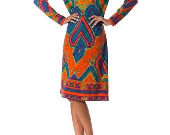 Vintage 1960s Cozy Ethnic Knit Dress from Leonard Paris  Size: XS/S/M