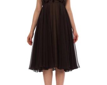 Vintage 1950s Empire Waist Beaded Velvet Details Chiffon Midi Dress Size: XS
