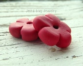 RESERVED Red Five Petal Blossom- rustic red blossom. ONE polymer clay flower bead. dark red flower. rustic flower disc bead. Jettabugjewelry