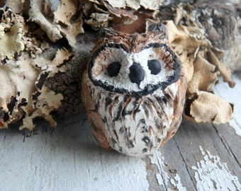 Stripped Owl- polymer clay charm. tan black white horned owl. realistic Stripped owl bird bead. owl pendant. rustic nature. Jettabugjewelry