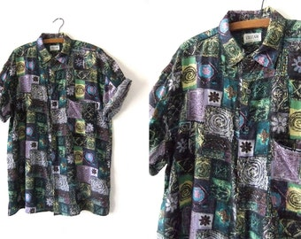 Kawaii Style Psychedelic Silk Shirt - Daisies and Swirls 90s Hip Hop Style Baggy Short Sleeve Button Down - Mens Large