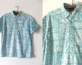 Maui Sons Pullover Hawaiian Shirt - Reverse Dye Surfer Beach Style 90s Block Print Abstract Short Sleeve Button Down Shirt - Mens Medium