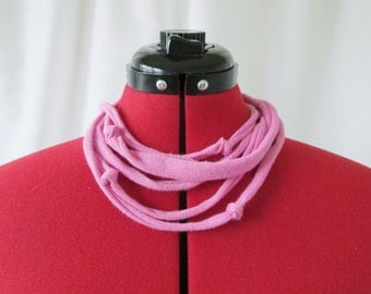 Pink Necklace - T Shirt Necklace - Fabric Necklace- Eco Jewelry- Handmade Necklace - Upcycled Necklace