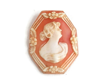 Antique Cameo Unmounted Hand Carved Female Profile Cameo Jewelry Making Supplies