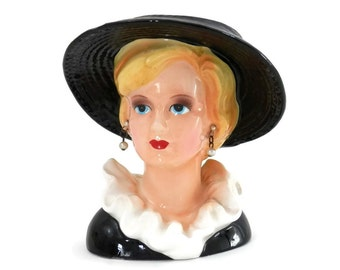 Lady Di Head Vase or Head Planter Princess Diana with Wide Brim Black Hat and Pearl Earrings