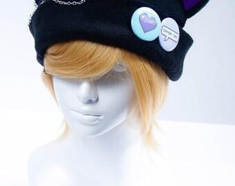 Cat Kitty Fleece Hat Anime Cosplay Gamer Cat (Purple)