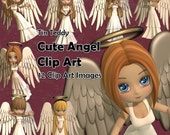 Cute Angel Clip Art - 12 digital images of a little angel for Crafting, Scrapbooks, Card Making etc Printable Angel Images for Christmas