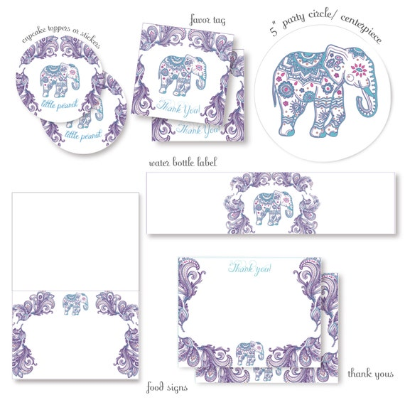 purple indian elephant baby shower complete party decor package