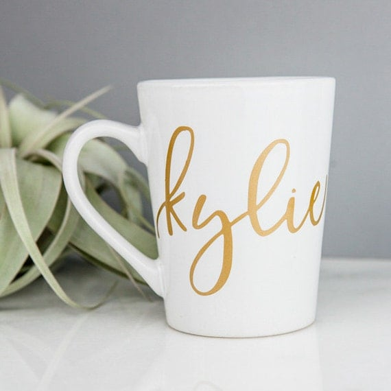 Personalized Mug Gold Custom Coffee Mug By Deighandesign