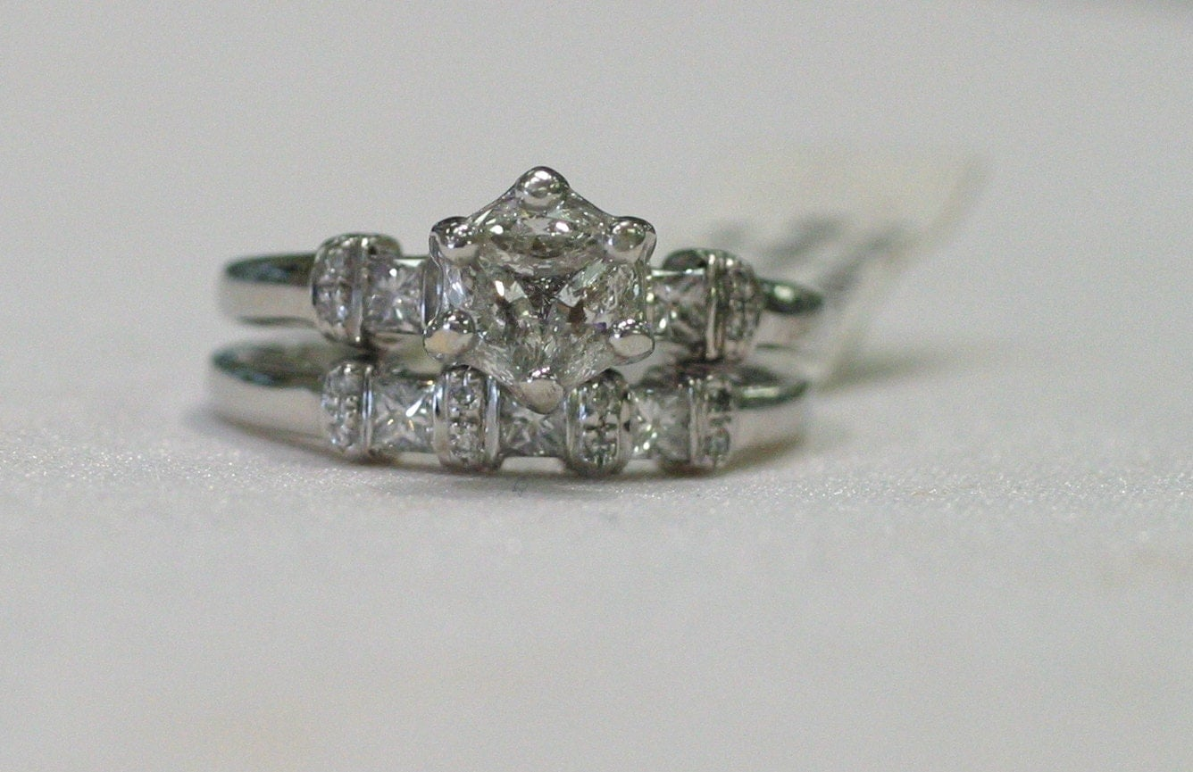 Custom designed cluster engagement ring and wedding band set for Cluster wedding rings