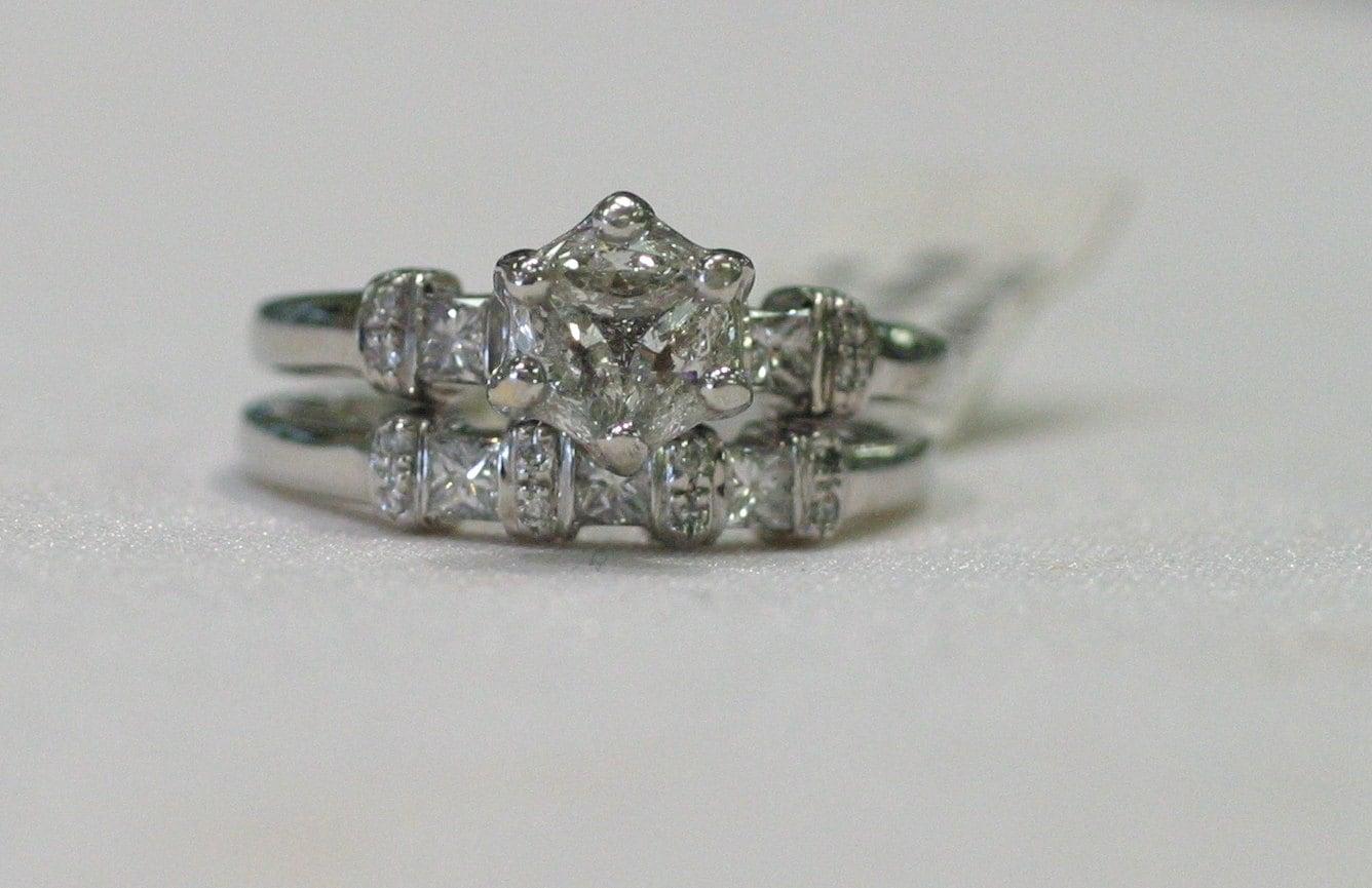 custom designed cluster engagement ring and wedding band set. Black Bedroom Furniture Sets. Home Design Ideas
