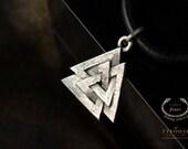 Valknut (silver) - The Valknut Viking Necklace Sterling Silver ,Viking Necklace Scandinavian ,Norse Viking Jewelry