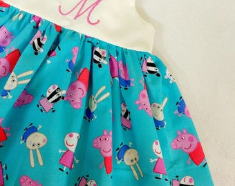 Peppa pig dress, girls monogrammed peppa pig dress, peppa pig birthday, personalized, peppa pig outfit, gift,