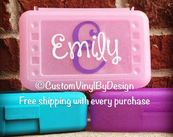Personalized Pencil Box, Plastic Pencil Box, Personalized School Supplies, Personalized Crayon Box, Personalized School Box, Art Supply Box