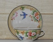 Vintage Hand Painted Blue Bird Porcelain Cup and Saucer - Japan - Collectibles - Shabby Chic - Flowers - Cottage Decor