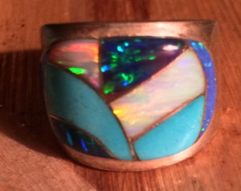 Vintage Native American Inlay Ring Signed RL - Size 9 1/4