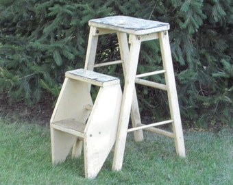 Shabby Chic Step Stool - Ladder  - Combination Convertible Chair - Seat - Step Stool - Folding - Portable - Antique Wood Furniture