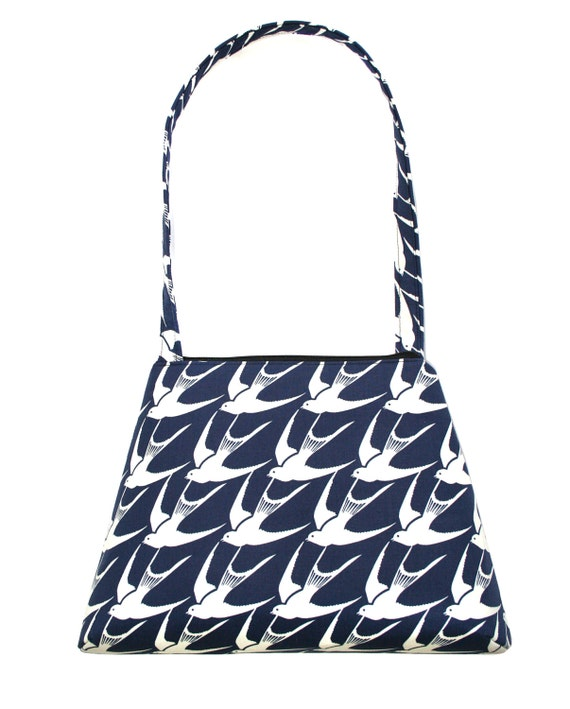 Sparrows, navy, retro style, tall Retro