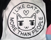 Long sleeve Cat tee - I like cats - baseball tee - cat baseball tee - raglan tee - cat tee - cat t shirt - long sleeve t shirt -