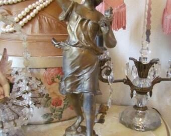Antique French Art Nouveau Spelter Lady Statue Floraison Charles Ruchot