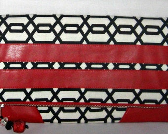Black White Clutch with Red Leather Trim, Black White Geometric Clutch, Geometric Purse Red, Black, White, with Beaded Tassel