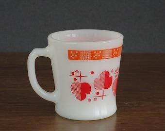 Fire-King Atomic Maple Leaf Coffee Mug - Vintage Fire King Mug - D Handle - Orange Red Fire-King Mug - Vintage Milk Glass Mug Anchor Hocking