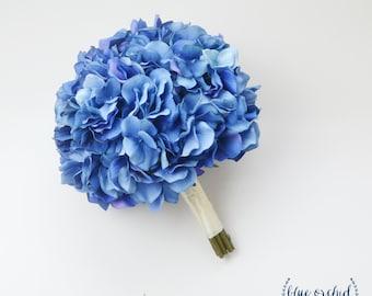 Blue Hydrangea Bouquet, Silk Hydrangea Bouquet, Bright Blue, Royal Blue, Hydrangea, Silk Bouquet, Wedding Bouquet, Bridal Bouquet, Beach
