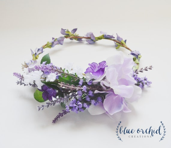 Flower Crown - Lavender Flower Crown, Wedding Hair Accessories, Wedding Crown, Lavender, Purple