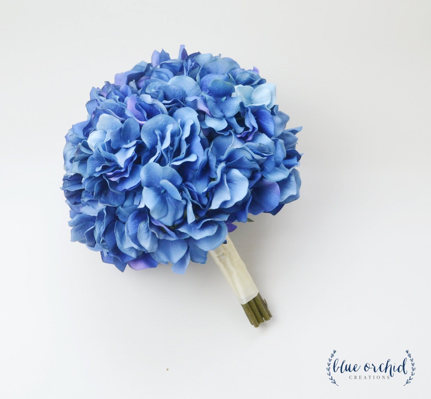 Blue hydrangea bouquet silk bright