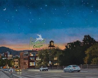 Night Falling Over Portland, Limited Edition Print, stars, Old Town, Burnside Bridge, Oregon