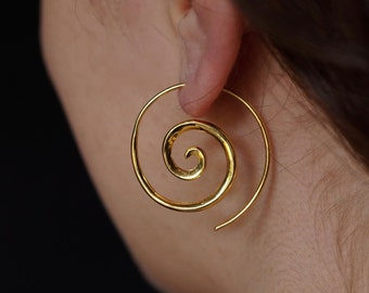 Spiral Earrings 18k Gold