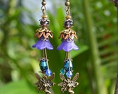 Magical Fairy Earrings- handmade purple and blue flower woodland elven victorian boho jewelry hidden treasury