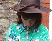 1970s hat brown with chiffon bow perfect condition wedding hat parties festival seventies hat wide brim