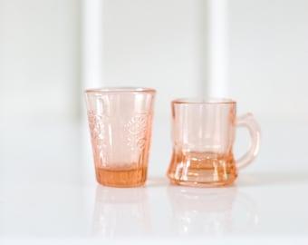 Mini Pink Depression Glasses - Set of Two