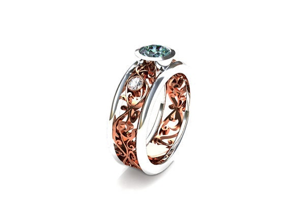 Wide Filigree Ring With Aquamarine And Diamonds Rose Gold