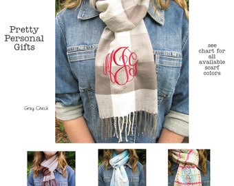 Scarf personalized with name or monogram - 34 scarves to choose from