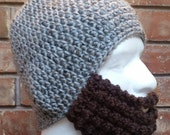 Crochet Bearded Skullcap - Beard Hat - Grey Marble Colored Hat With Beard Face Warmer - Ready To Ship!