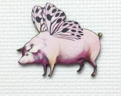 Flying Pig Wood Needle Minder